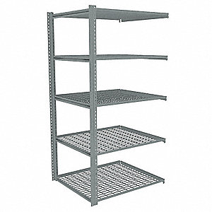 "Add-On Boltless Shelving with Steel Wire Decking, 5 Shelves, 43""W x 36-5/8""D x 84""H"