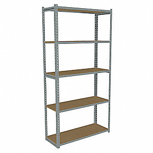 "Starter Boltless Shelving with Particle Board Decking, 5 Shelves, 42-5/8""W x 15-5/8""D x 84""H"