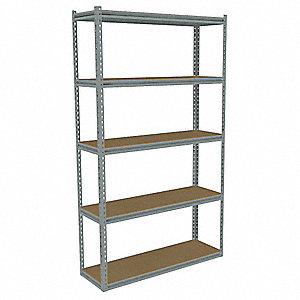 "Starter Boltless Shelving with Particle Board Decking, 5 Shelves, 42-5/8""W x 18-5/8""D x 84""H"