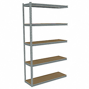 "Add-On Boltless Shelving with Particle Board Decking, 5 Shelves, 43""W x 12-5/8""D x 84""H"