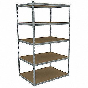 "42"" x 36"" x 84"" Steel Boltless Shelving Starter Unit, Gray&#x3b; Number of Shelves: 5"