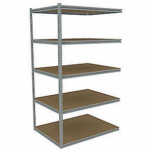 "Add-On Boltless Shelving with Particle Board Decking, 5 Shelves, 43""W x 36-5/8""D x 84""H"