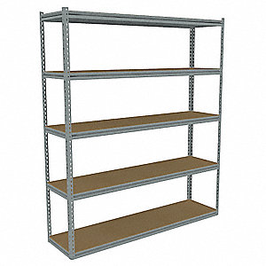 "60"" x 12"" x 84"" Steel Boltless Shelving Starter Unit, Gray&#x3b; Number of Shelves: 5"