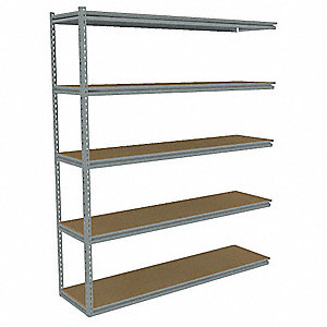 "Add-On Boltless Shelving with Particle Board Decking, 5 Shelves, 73""W x 12-5/8""D x 84""H"
