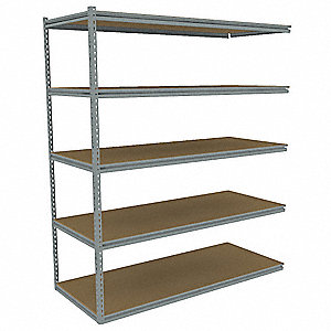 "Add-On Boltless Shelving with Particle Board Decking, 5 Shelves, 73""W x 24-5/8""D x 84""H"