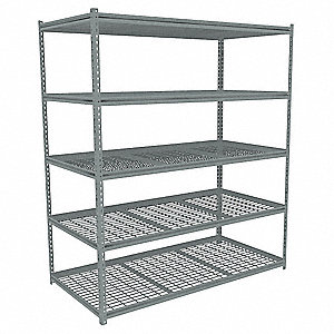 "Add-On Boltless Shelving with Particle Board Decking, 5 Shelves, 61""W x 48-5/8""D x 84""H"