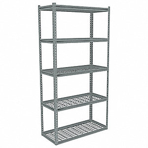 "48"" x 18"" x 84"" Steel Boltless Shelving Starter Unit, Gray&#x3b; Number of Shelves: 5"