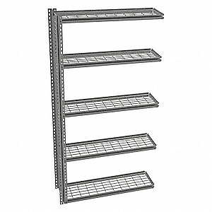 "Add-On Boltless Shelving with Steel Wire Decking, 5 Shelves, 43""W x 12-5/8""D x 84""H"