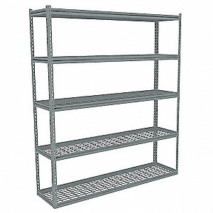 "Starter Boltless Shelving with Steel Wire Decking, 5 Shelves, 60-5/8""W x 18-5/8""D x 84""H"