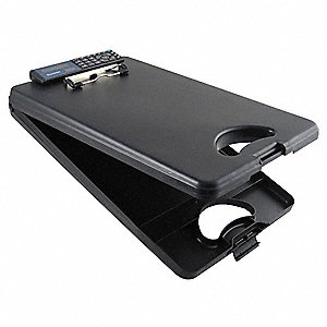 "Black Polypropylene Storage Clipboard, Letter File Size, 10"" W x 16"" H, 1/2"" Clip Capacity, 1 EA"