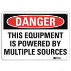 Danger: This Equipment Is Powered By Multiple Sources Signs