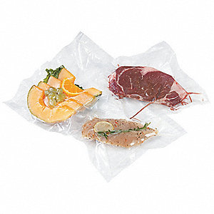"Vacuum Sealer Bag, 4 mil, Clear Low Density Polyethylene (LDPE), Width 8"", Length 6"", 100 PK"