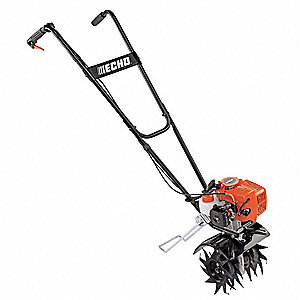 "Tiller/Cultivator, 4"" Length of Tines, 21.2cc Engine Displacement, 10"" Tilling Depth"