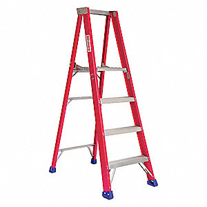 "Fiberglass Platform Stepladder, 4 ft. Ladder Height, 3 ft. 10"" Platform Height, 300 lb."