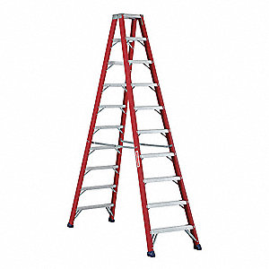 10 ft. 300 lb. Load Capacity Fiberglass Twin Stepladder