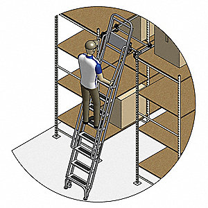 "Stationary Dual Track Ladder, 105"" to 115"" Track Mounting Height Range, Number of Steps: 8"