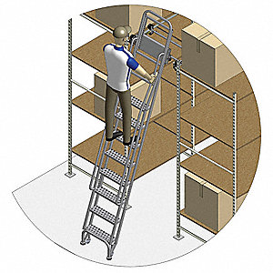"Stationary Dual Track Ladder, 145"" to 155"" Track Mounting Height Range, Number of Steps: 12"