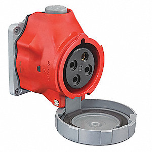 60 Amp, 3-Phase Valox 357 Watertight Pin and Sleeve Receptacle, Red