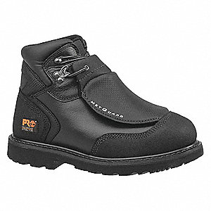 "6""H Men's Work Boots, Steel Toe Type, Black, Size 6W"