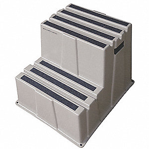 "Plastic Box Step, 19-3/4"" Overall Height, 500 lb. Load Capacity, Number of Steps: 2"