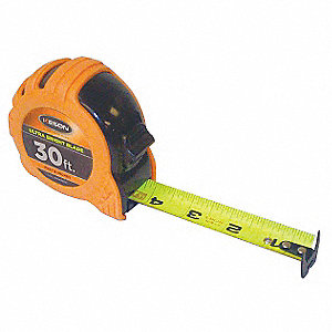 30 ft. Steel SAE Tape Measure, Orange