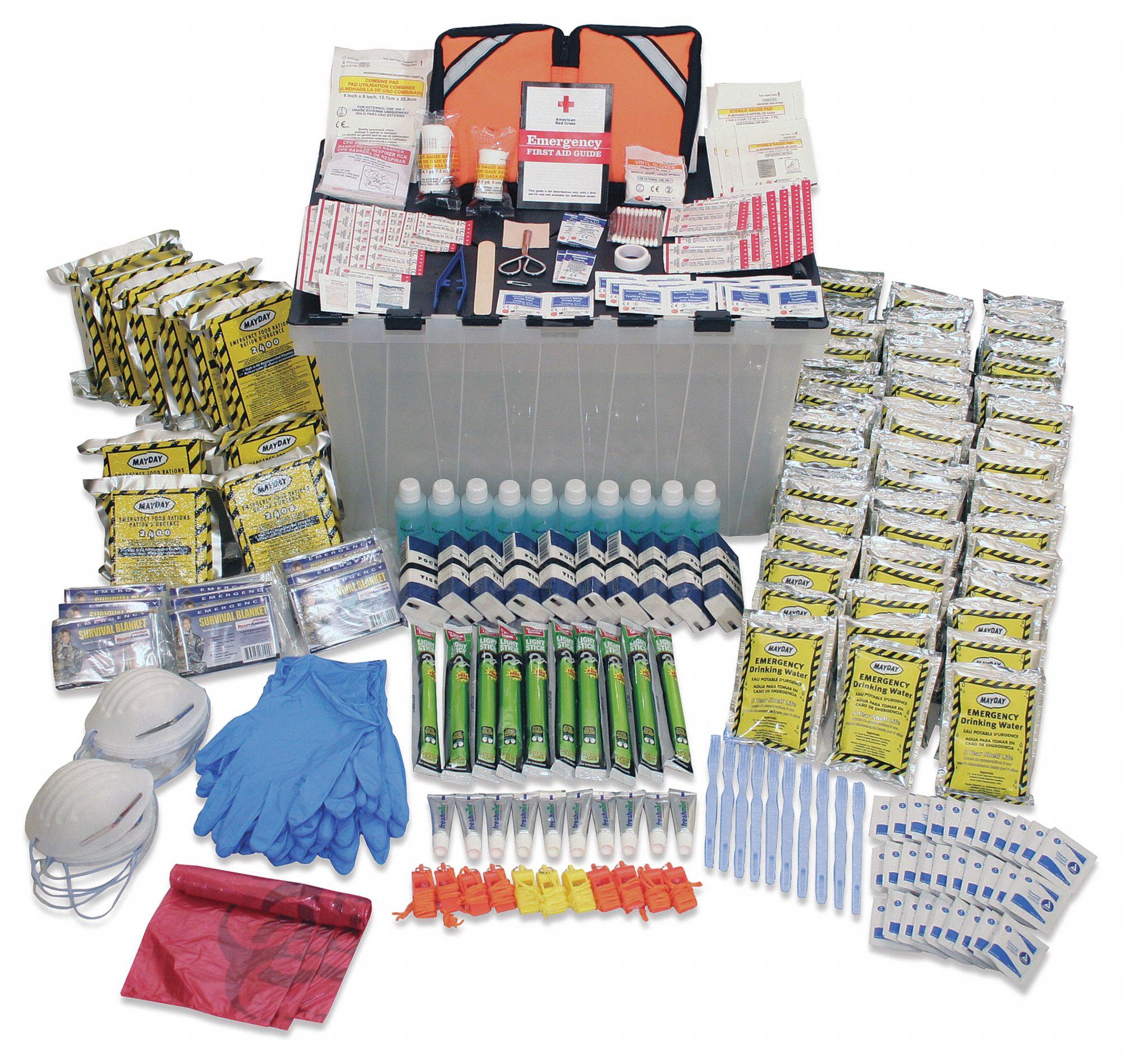 Group Emergency Survival Kit,  Number of Components 303,  People Served 10,  Gray/Balck