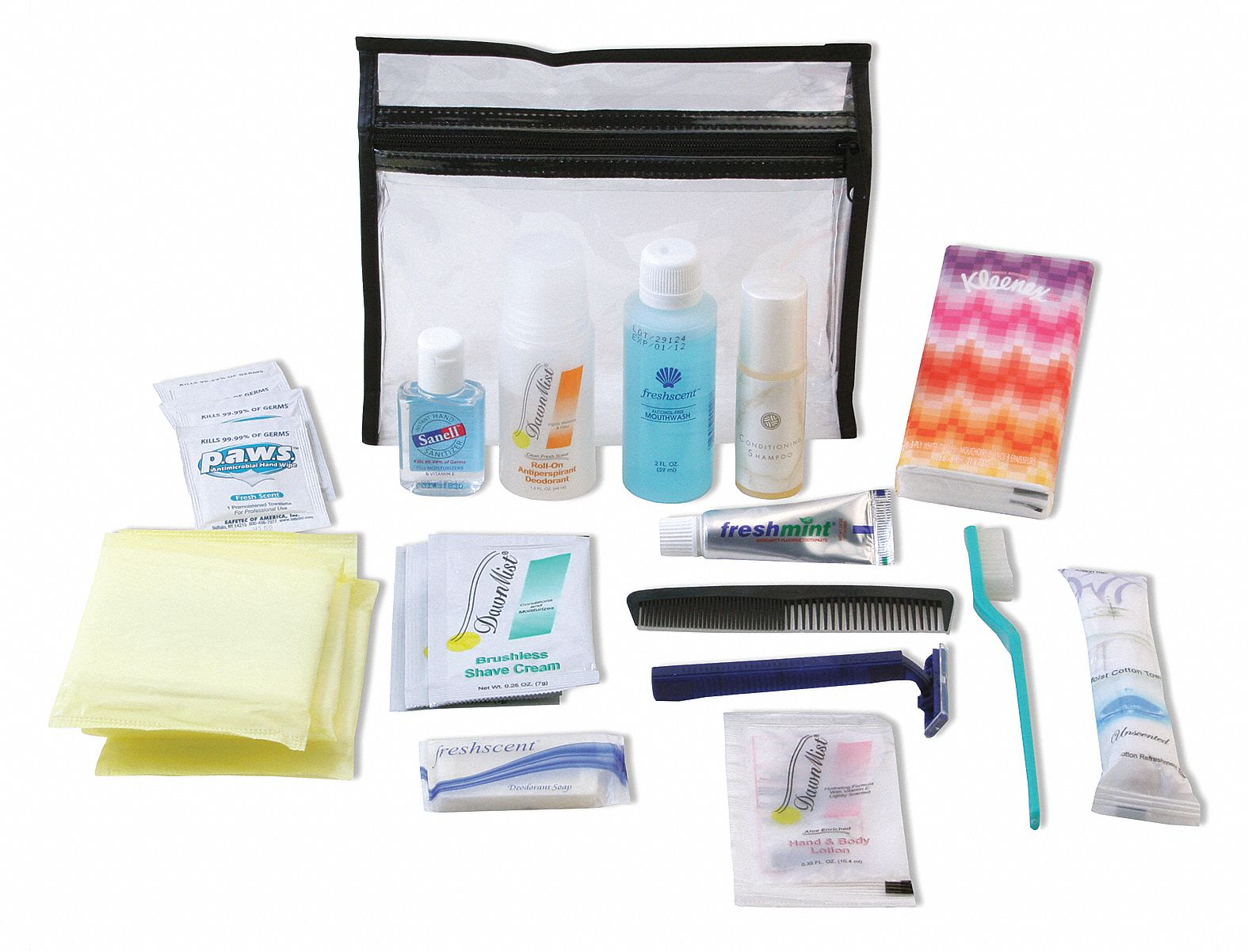 Personal Emergency Hygiene Kit,  Number of Components 26,  People Served 1,  Clear,  6 3/8 in Height