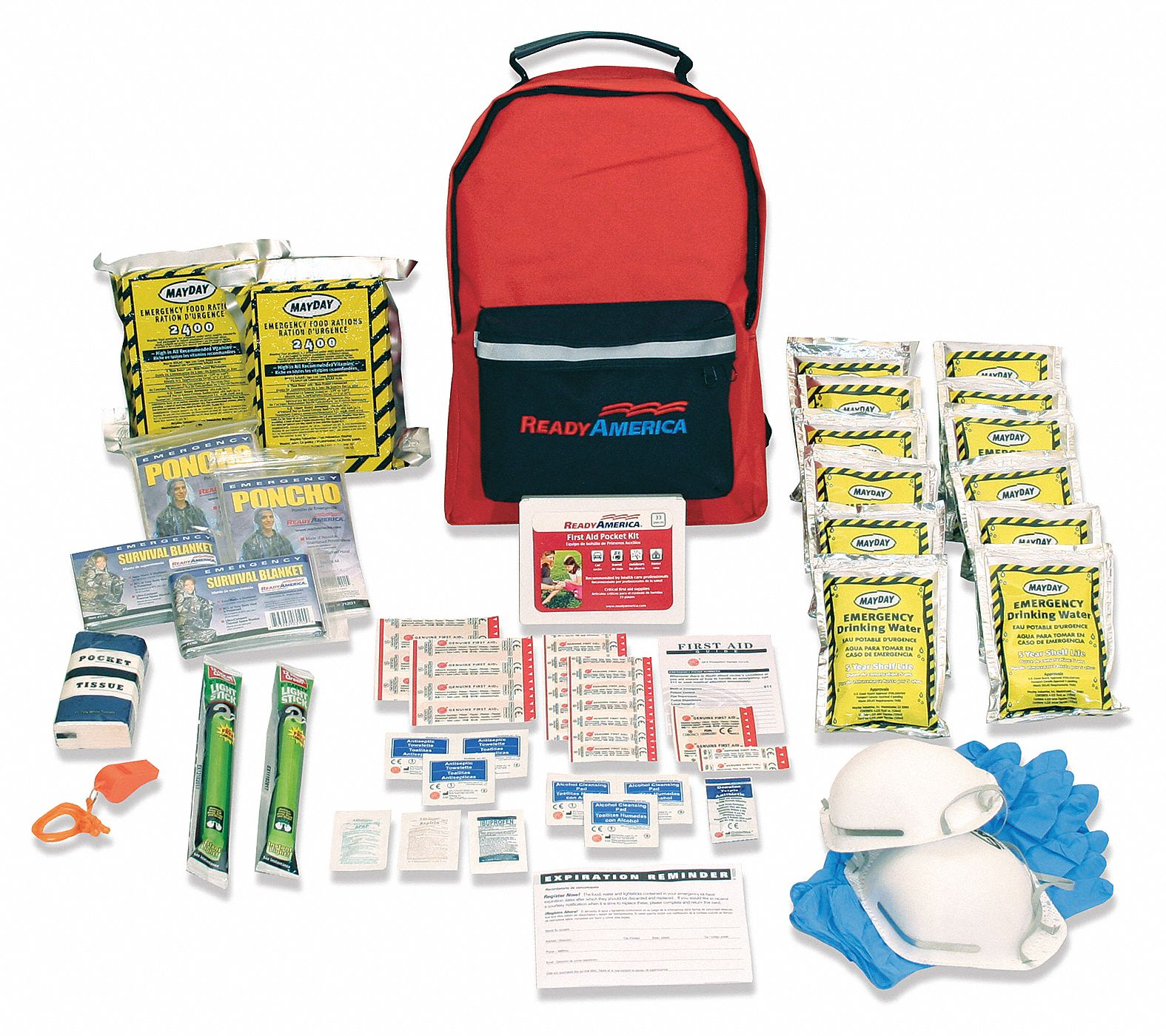 Emergency Kit,  Number of Components 62,  People Served 2,  Red/Black,  13 in Height,  6 in Width