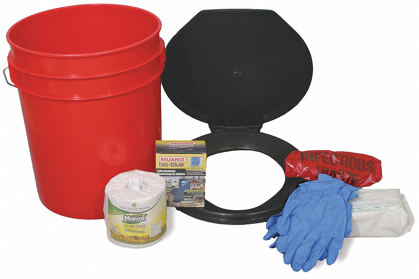 Emergency Toilet Kit,  Number of Components 13,  People Served 4,  Red/Black,  15 in Height