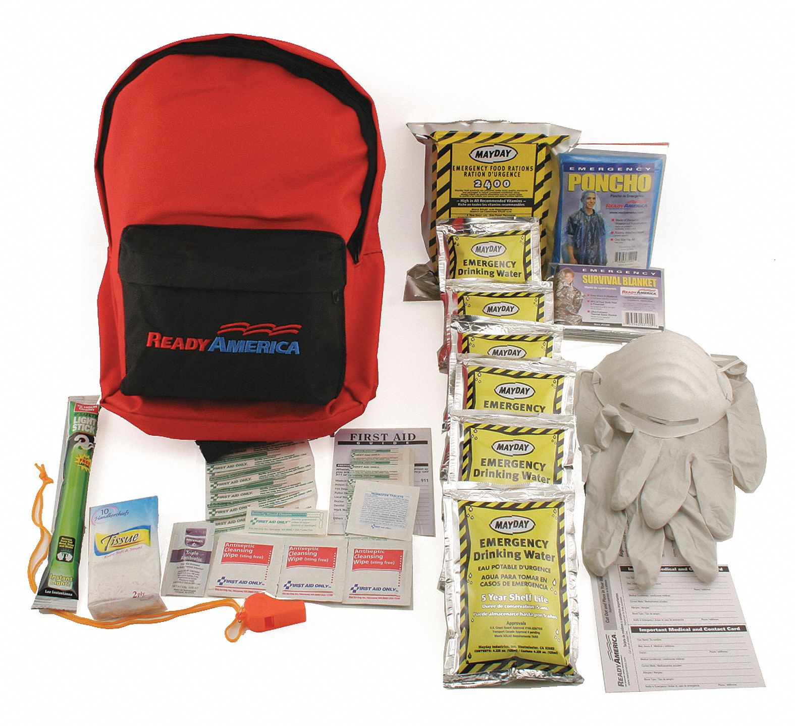Personal Emergency Kit,  Number of Components 35,  People Served 1,  Red/Black,  13 in Height