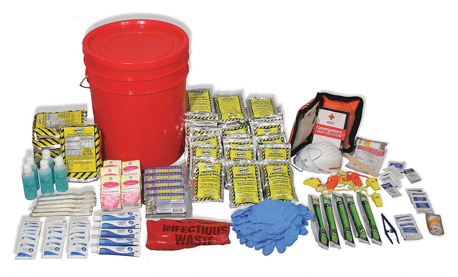 Emergency Lockdown Kit,  Number of Components 207,  People Served 5,  Red/Black,  15 in Height