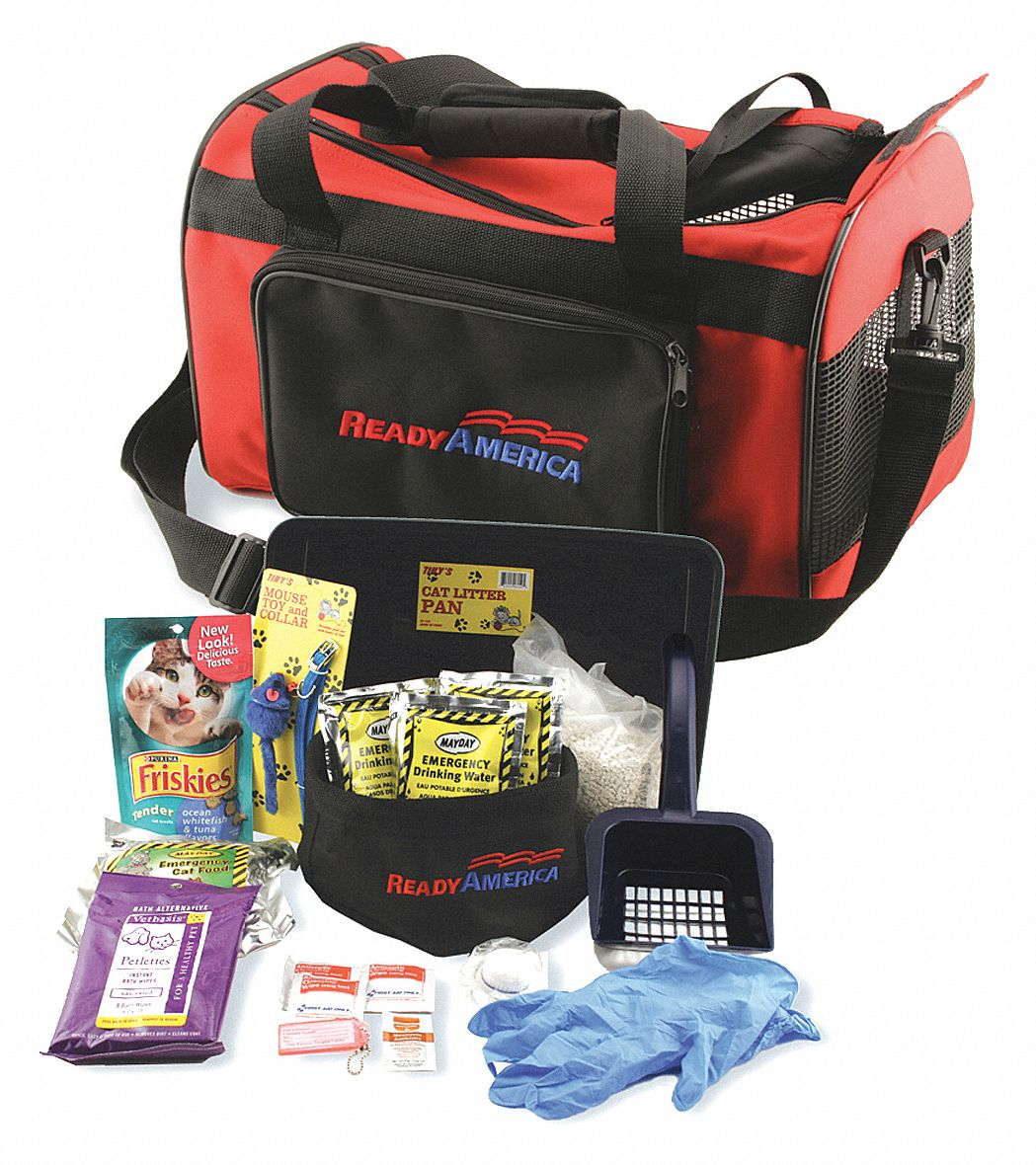 Cat Emergency Kit,  Number of Components 20,  People Served 1,  Red/Black,  16 in Height