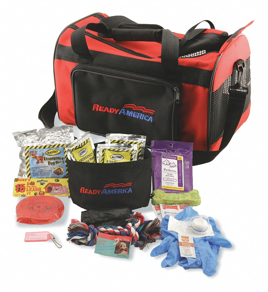 Dog Emergency Kit,  Number of Components 25,  People Served 1,  Red/Black,  16 in Height