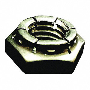 "7/8""-9 Top Lock Jam Nut, Plain Finish, Grade 2 Steel, Right Hand, PK20"