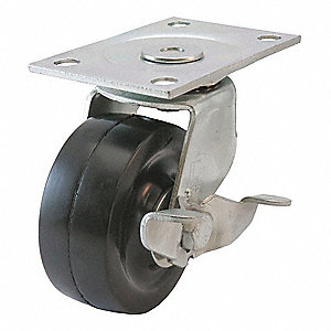Swivl Plate Caster,Side Brake,5-3/4 in H