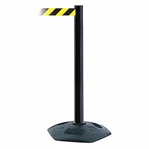 Barrier Post with Belt,Yellow/Black