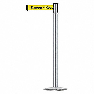 Slimline Post,14in. Dia.,Danger Keep Out