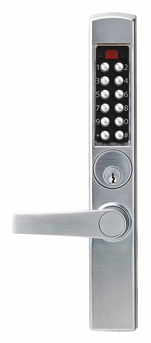 Electronic Locks, 2-3/4 in Backset, Narrow Stile, Satin Chrome, 1/2 in Latch Length