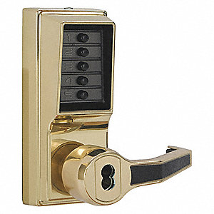 Mechanical Push Button Lockset, 5 Button, Vandal Resistant, Entry, Bright Brass