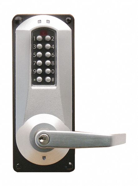 Electronic Locks, 2-3/4 in Backset, Mortise, Satin Chrome, 1/2 in Latch Length