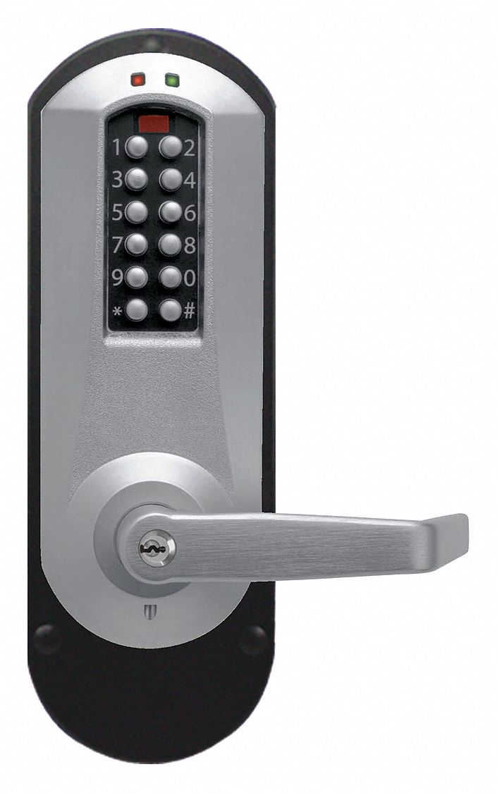 Electronic Locks, 2-3/4 in Backset, Exit Trim, Satin Chrome, 1/2 in Latch Length