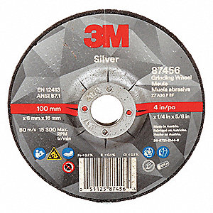 "4"" Type 27 Ceramic Grain Depressed Center Wheels, 5/8"" Arbor, 1/4""-Thick, 15,300 Max. RPM"