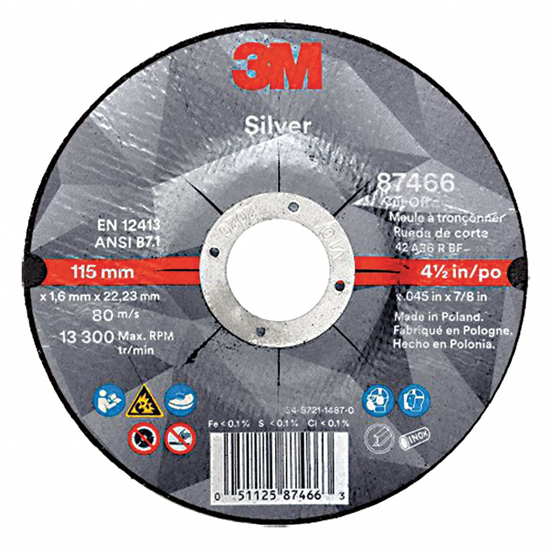 4 1/2 in,  Type 27 Ceramic Grain Abrasive Cut-Off Wheel,  7/8 in Arbor Hole Size