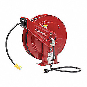 Reelcraft Extension Cord Reel Spring Retraction 120v Ac Single Connector 100 Ft Red Reel Color 451n70 L 70100 123 3 Grainger