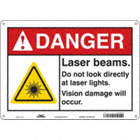 Danger: Laser Beams. Do Not Look Directly At Laser Lights. Vision Damage Will Occur. Signs