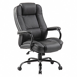 "Black Leather Executive Chair 30-1/2"" Back Height, Arm Style: Fixed"