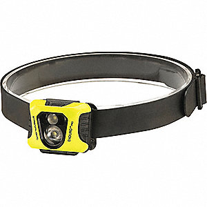 Headlamp,200/75/25 lm,Yellow Body,LED