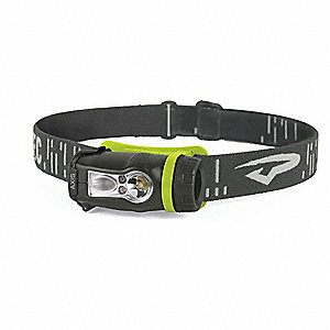 LED Headlamp, Plastic, 10,000 hr. Lamp Life, Maximum Lumens Output: 200, Green