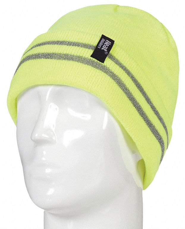 Knit Cap,  Universal,  Stretch Knit Adjustment Type,  Bright Yellow,  Covers Head,  Watch Cap