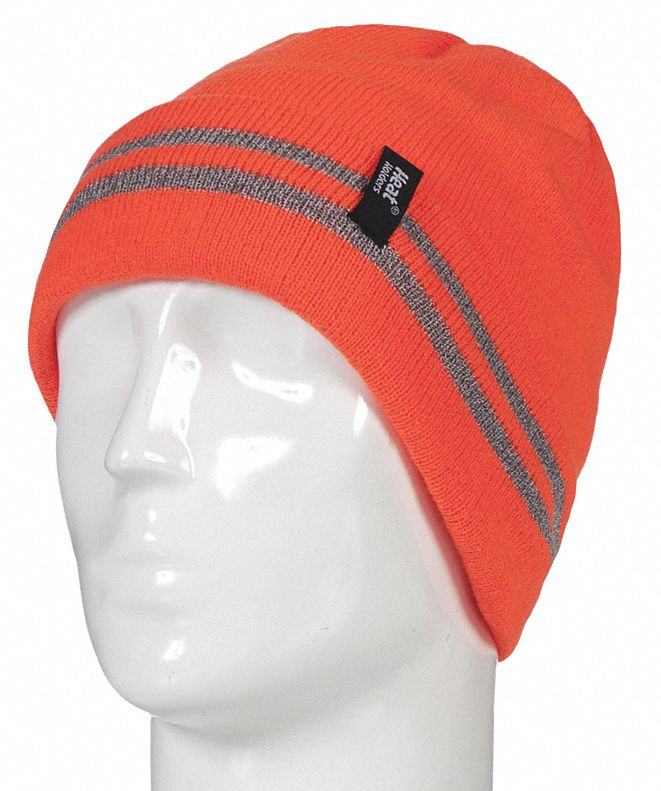 Knit Cap,  Universal,  Stretch Knit Adjustment Type,  Bright Orange,  Covers Head,  Watch Cap